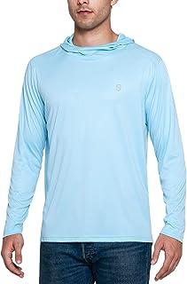 Soniz Men's UPF 50+ Sun Protection Long Sleeve Hoodie Quick Dry Lightweight Running Outdoor Shirt