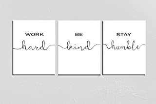 Set of 3 Work Hard,Be Kind,Stay Humble,Office Wall Decor,Office wall art,Office sign,Work Hard Stay Humble Sign Wall Art 8X10 Inch Prints No Framed