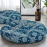 HIGOGOGO Boho Floor Pillow, Round Blue Seating Cushion Mandala Meditation Pillow Thick Cotton Linen Indian Pouf Cushion for Yoga Living Room Balcony Kids Playing Room Party, 22 Inch, Navy Blue