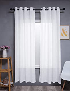 Kinryb 84 Inches Natural Linen White Curtains - Functional Light Filtering Linen Sheer Curtains, Metal Grommet Top Window ...