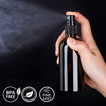 Amber Glass Spray Bottles for Essential Oils, 4oz Empty Small Fine Mist Spray Bottle 2 Pack