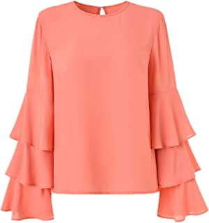 BASIC MODEL Women's Bell Sleeve Tops Ruffle Long Sleeve Blouses Round Neck Shirt