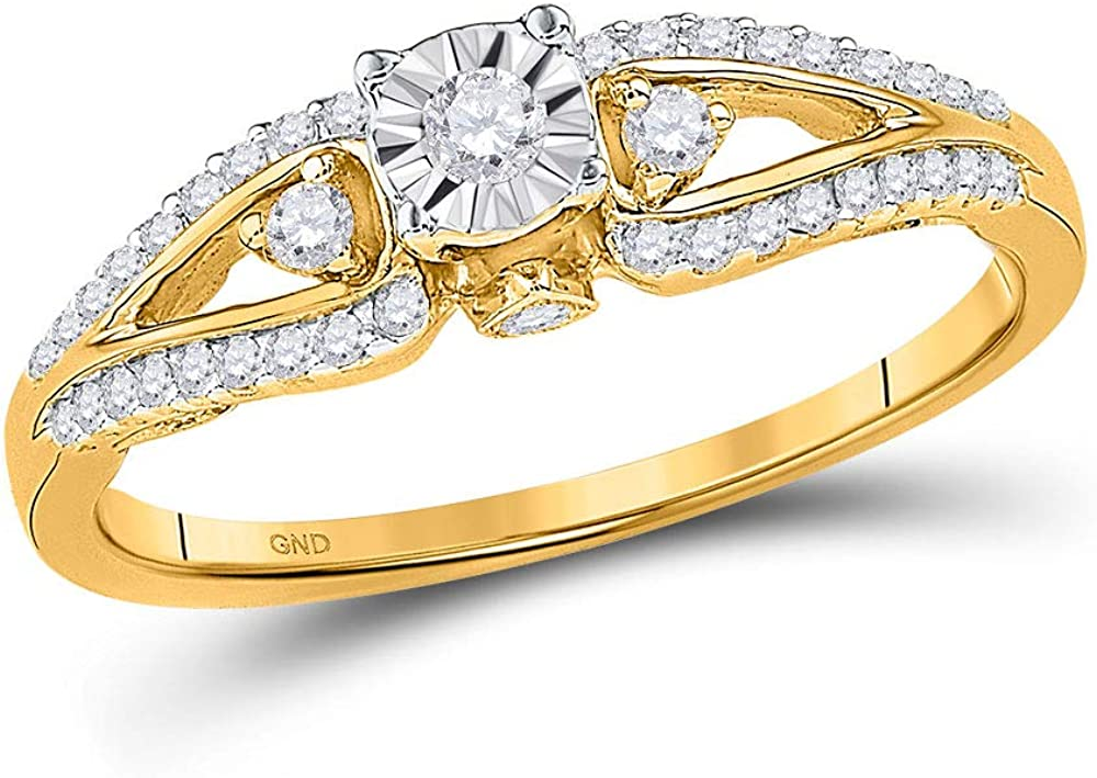 Dazzlingrock Collection 10kt Yellow Gold Womens Round Diamond Solitaire Promise Bridal Ring 1/4 ctw