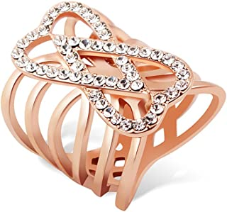 Ajojewel Big Design CZ Double Heart Rings for Women Gold Plated Fashion Jewelry