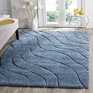 SAFAVIEH Florida Shag Collection SG472 Abstract Wave Non-Shedding Living Room Bedroom Dining Room Entryway Plush 1.2-inch Thick Area Rug, 3'3″ x 5'3″, Light Blue / Blue