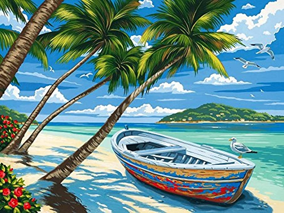 [Wooden Framed] DIY Oil Painting Paint by Number for Kids Painting Cartoon Value Gift -Tropical Beach 16x20 Inch