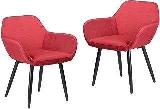 FurnitureR Juego de 2 sillas Decorativas Modernas, sillón de recepción Sillas de salón Mid-Century Leisure Lounge Cojín de Tela Resistente al Desgaste para Sala de Estar Fácil Montaje Rojo