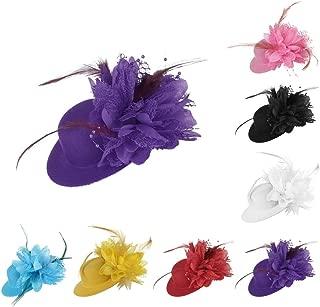 HBEI European Lady Flower Feather Hat Wedding Fascinator Hairband Hair Accessories Women Headwear for Wedding Cocktail Party (Blue)