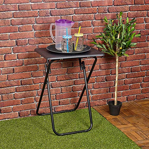 URBNLIVING Metal Legs Folding Side Coffee Table (Black, Small)