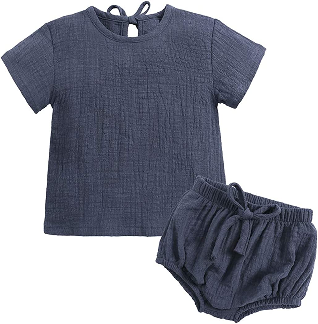 MYGBCPJS Baby Boys Girls 2Pcs Tops +Bloomer Shorts Cotton Short Sleeve Outfit Set
