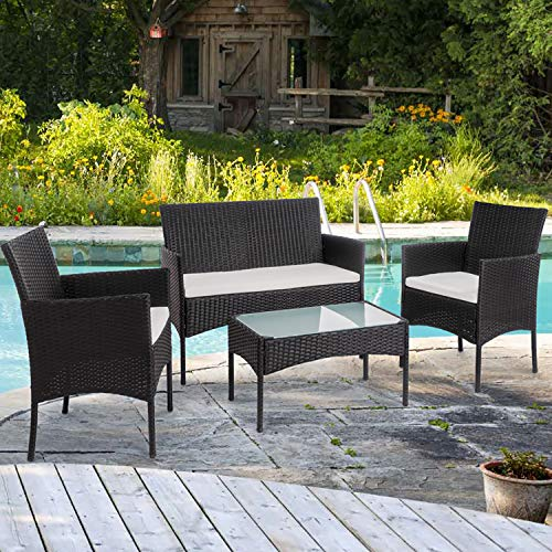 Shintench 4 Piece Outdoor Patio Furniture Sets, Small Wicker Patio Conversation Furniture Rattan Chair Set with Tempered Glass Coffee Table For Backyard Porch Garden Poolside Balcony, Black
