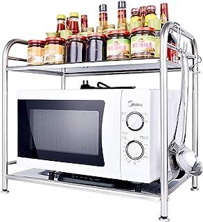 Étagère de Cuisine Grille de Four à Micro,Etagère de Cuisine acier inoxydable Étagère à épices Porte-épices 2 Niveau Spice...