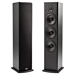 Polk T50 150 Watt Home Theater Floor Standing Tower Speaker (Single) - Premium Sound at a Great Value   Dolby and DTS Surround