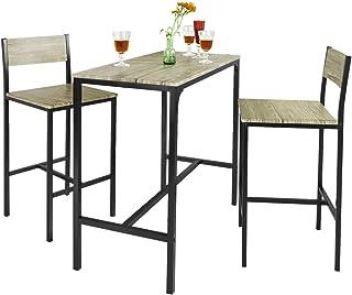 0df4f383065f SoBuy Juegos de Muebles Altas, Mesa de Cafetería, 3 Piezas Set de Balcón,