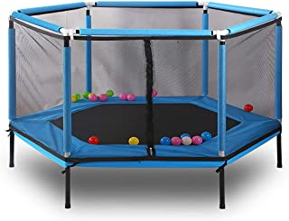 61.8 Inch Hexagon Children's Trampoline Household Trampoline Game with Safety Net Strong Spring Jump Trampoline Bounce Bed...