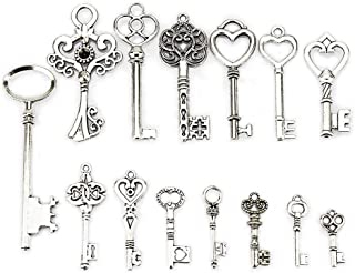 LolliBeads (TM) Antiqued Silver Plated Assorted Key Charm Set Necklace Pendant, Victorian Filigree Heart Royal Key (14 Pcs)