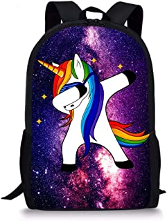 PrelerDIY Dabbing Unicorn Kids Backpack School Children Book Bag Rucksack Lightweight Daypack for Boys Girls 17 Inch