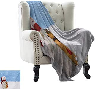 Fluffy Blanket Snowman,Winter Time Theme Cute Snowman with Christmas Hat Scarf and Present Happy Holiday,Multicolor Weighted for Adults Kids, Better Deeper Sleep 60