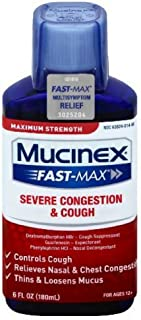 Congestion and Cough Liquid,Mucinex Fast-Max Severe Congestion and Cough Liquid, 6 fl. oz.,Fast Acting Maximum Strength Formula Relieves Nasal & Chest Congestion, Controls Cough,Thins & Loosens Mucus
