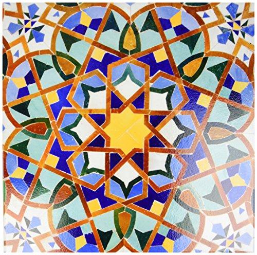 3dRose LLC ct_73580_4 Ceramic Tile, 12-Inch, 'Morocco, Hassan II Mosque Mosaic, Islamic Tile Detail-Kymri Wilt'