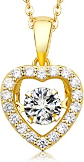 Gold Heart Dancing Dream 925 Sterling Silver Pendant Necklace Crystals from Swarovski