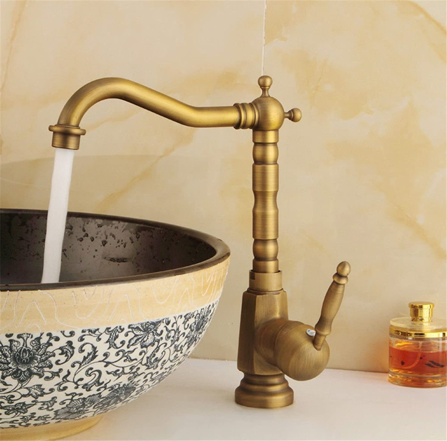 Gyps Faucet Basin Mixer Tap Waterfall Faucet Antique Bathroom ?Antique kitchen faucet hot and cold water basin mixer basin mixer single hole single lever to redate the single-Tap B