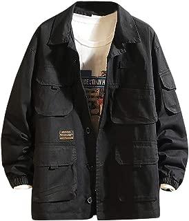 Bomber Jacket Men's Japanese Multi-Pocket Lapel Fashion Red Leather Jacket Plain Lapel Coat