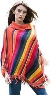 Gamboa - Alpaca Poncho for Women - Striped Rainbow Design