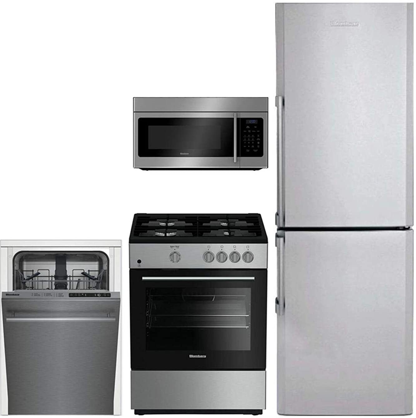 Blomberg 4-Piece Kitchen Appliance Package with BRFB1322SS 24