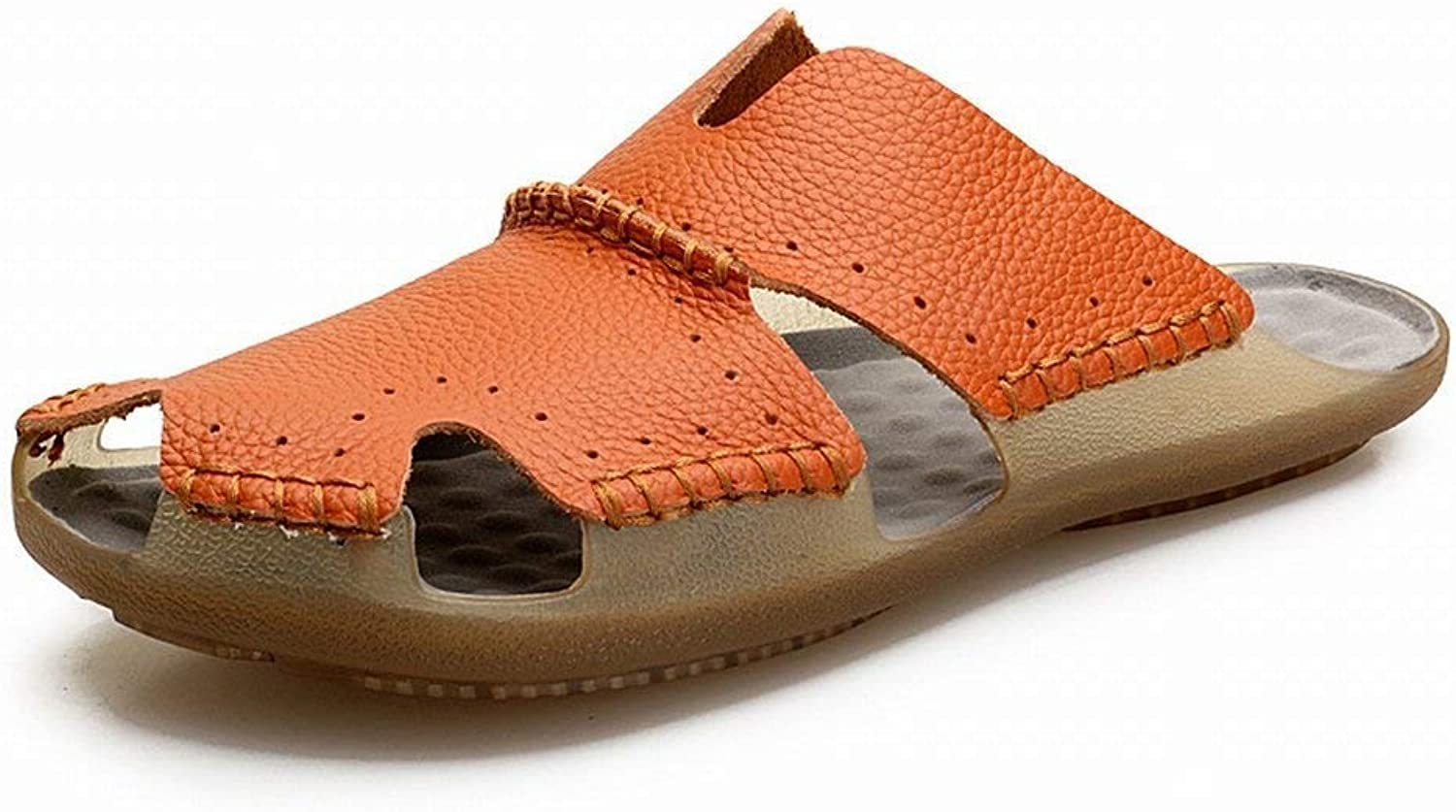 First layer of leather sandals Male Leather Baotou Beach shoes Leather Non-Slip Outdoor Sandals (color   Brown, Size   43)