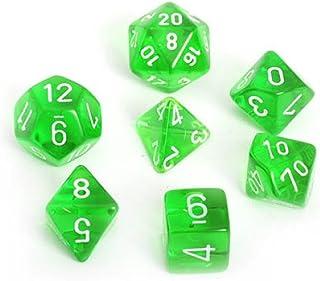Chessex CHX 23005 Translucent Polyhedral Green/White 7-Die Set