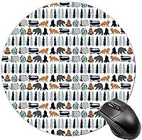女性のための丸いマウスパッドクールなマウスマットコンピューターマウスパッドフラットデザインの美しいイースターパターン-ベアキャンプ