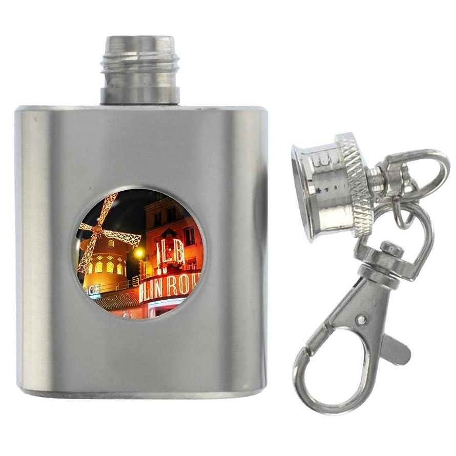 1StopShops Moulin Rouge Scene Miniature Stainless Steel Flask Keyring