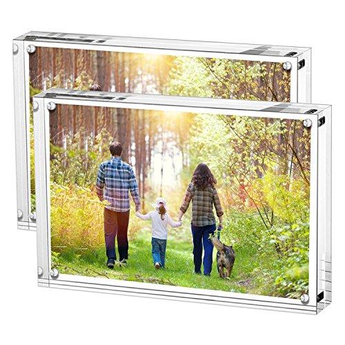 Boxalls Bilderrahmen 13 x 18 cm(5 x 7 inch)-2er Set, Acryl Magnetischer Fotorahmen, Doppelseitiges Rahmenloser Rahmen, Klares, für den Desktop
