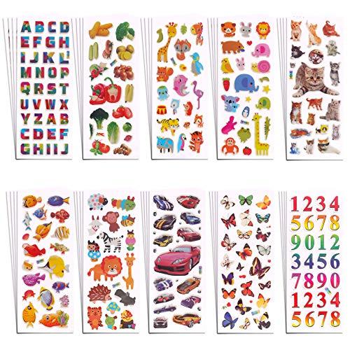 Aufkleber für Kinder 3D,RYMALL 40 Verschiedene 750+ Geschwollen Stickers,für Jungen Mädchen Lehrer, Buchstab , Zahlen,Tier, Meereslebewesen, Fische,Schmetterling