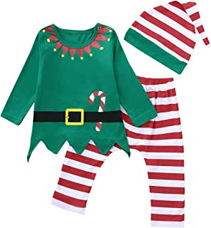 3Pcs Newborn Boys Girls Christmas Outfits Long Sleeve Tops+Stripe Pants+Hat