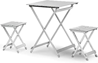 KUTON Camping Table, Portable Folding Table w/2 Chairs, Lightweight & Compact Side Table, Telescope Aluminum Camp Table Load Up to 60lbs, Easy to Clean, Seats Two Person for Outdoor Camping, Picnic