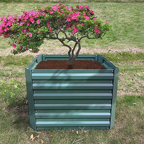 HENGMEI Hochbeet verzinkt Stahl Kräuterbeet Gartenbeet Rechteckig 120x60x60 cm für Balkon und Garten, Grün