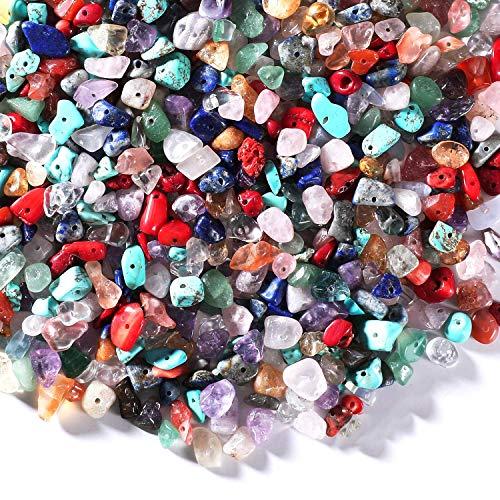 200 Piezas Piedras Preciosas Con Un Agujero Perlas Naturales Irregulares Cuentas De Chips De Piedras Preciosas Cuentas De Piedras Preciosas De Chip Para Collar, Pulsera, Pendiente Y Otras Joyas