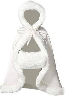 BEAUTELICATE Flower Girl Cape Winter Wedding Cloak for Infant Junior Bridesmaid Hooded Reversible