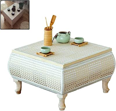 Rattan Woven Straw Table Coffee Table Tatami Coffee Table Solid Wood Simple Window Sill Table Solid Wood Kang Table Platform Low Table Coffee Table (Color : Beige, Size : 43 * 43 * 30cm)