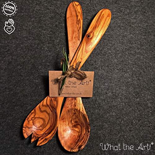 What the Art!® Olive Wood «Servidor» Gr. L | Olivenholz Salatbesteck + Geschenk | 30 cm | Servierbesteck - Besteckset - Küchenhelfer
