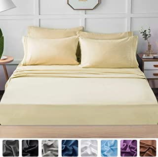 LIANLAM Full Bed Sheets Set - Super Soft Brushed Microfiber 1800 Thread Count - Breathable Luxury Egyptian Sheets 16-Inch Deep Pocket - Wrinkle and Hypoallergenic-6 Piece(Ivory, Full)