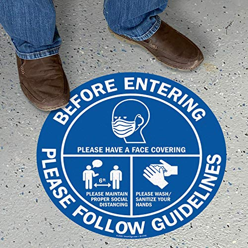 "SmartSign ""Please Follow Guidelines - Wear Face Covering, Maintain Social Distancing & Wash/Sanitize Your Hands"" Social Distancing Floor Sign 