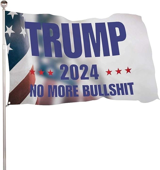 Trump 2024 No More BS flag 2x3 HUGE President Trump Flag KAG MAGA USA SELLER