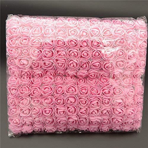 ASOSMOS 144 Teile/Packung Mini Schaum Künstlich Rose Blume Bukett Hochzeit Dekor Handwerk Vorräte - Rosa