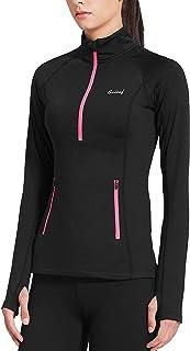 Women's Thermal Fleece Half Zip Thumbholes Long Sleeve...