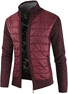 XLDD Mens Knitted Cardigan Autumn Winter Knitted Jacket Zip Long Sleeve Jacket Lined Warm Stand Collar Casual Warm Quilted...