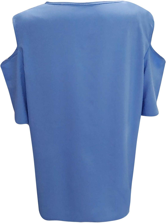 Plus Size Women Tops Round Neck Solid Color T Shirts Cutout Cold Shoulder Short Sleeve Summer Flowy Larger Blouses