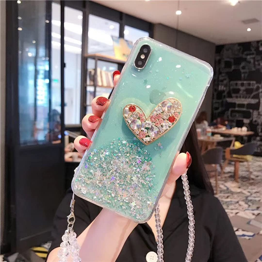 ISYSUII Compatible with Samsung Galaxy Note 20 Ultra Diamond Case Clear Bling Glitter Sparkle Stars Love Shape Case Girls Women Soft Flexible Silicone Shockproof Case with Crossbody Strap,Green